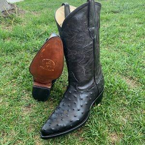 Men's Cowboy boot ostrich print leather black 099